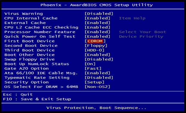 phoenix first boot device