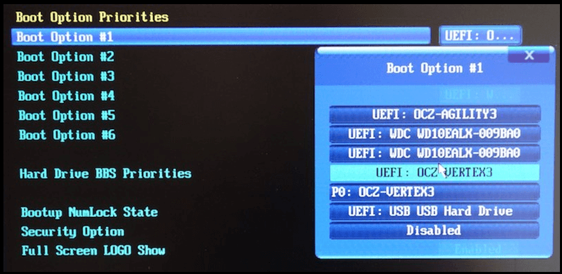 boot option priorities